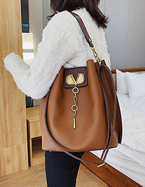 Fashion Brown Contrast Stitching Shoulder Bag Shoulder Bag