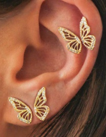 Fashion Gold Butterfly And Diamond Earrings