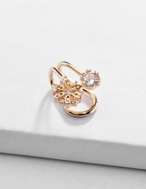 Fashion Gold Copper Fittings Adjustable Hollow Five-star Flower Ear Clip