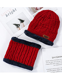 Fashion Big Red Plush Knitted Twisted Woolen Cap Bib Two-piece