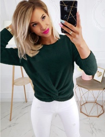 Fashion Dark Green Round Neck Twisted Sweater