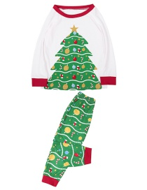 Fashion Child White Christmas Tree Print Home Service Suit