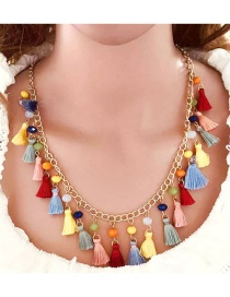 Color Tassel Chain Crystal Necklace