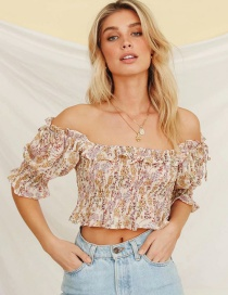 Fashion Color Flower Print Ruffled Shirt