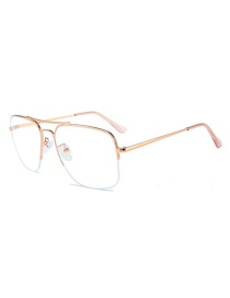 Fashion Rose Gold Frame Double Beam Frame Metal Glasses Frame White Screen Glasses