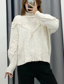Fashion White Stand-up Collar Eight-knit Sweater