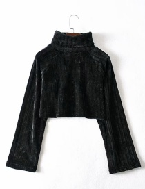 Fashion Black Chenille Stacked Collar Short Knit Sweater