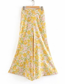 Fashion Yellow Floral Print High-rise Straight-leg Pants