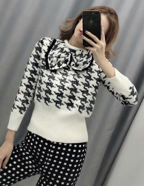 Fashion White Houndstooth Bow-knit Sweater
