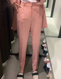 Fashion Pink Check Print Straight-leg Pants
