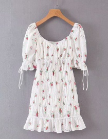 Fashion White Embroidered Cotton-print Dress