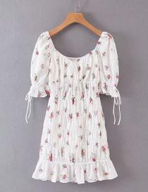 Fashion White Embroidered Cotton-print Dress