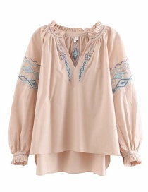 Fashion Pink Embroidered Lace V-neck Shirt