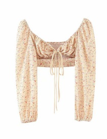 Fashion Yellow Small Floral Lantern Sleeve Tie Top