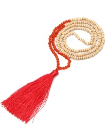 Fashion Red Wooden Beads Agate Gem Tassel Necklace