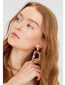 Color Alloy Studded Geometric Earrings
