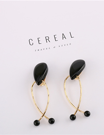 Fashion Black Acrylic Geometric Earrings