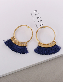 Fashion Gold Circle Tassel Earrings