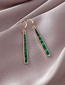 Fashion Green Textured Long Strip Earrings