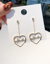 Fashion Gold 925 Silver Pin Micro-inlaid Zircon Ecg Heart-shaped Earrings