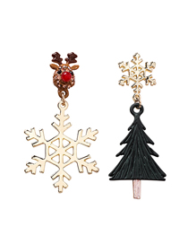 Fashion Snowflake Christmas Tree 925 Silver Needle Asymmetric Christmas Snowflake Tree Full Of Roe Deer Stud Earrings