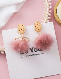 Fashion Pink 925 Silver Pin Biscuit Type Polka Dot Texture Bow Hair Ball Earrings