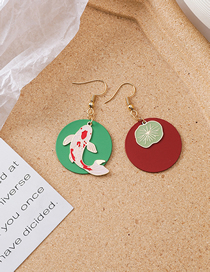 Fashion Color Drop Glaze Painted Koi Earrings