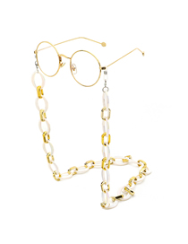 White Acrylic Leopard Thin Chain Eyeglass Chain