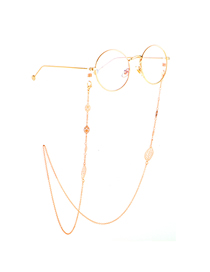 Gold Non-slip Metal Hollowed Out Leaves Chain Glasses Chain