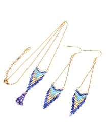 Fashion Suit Blue Rice Beads Woven Geometric Pattern Earrings Necklace