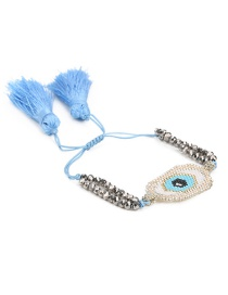 Blue + Silver Rice Bead Braided Eye Crystal Tassel Bracelet