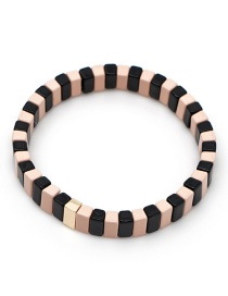 Black + Pink Long Strip Alloy Paint Color Retaining Bracelet