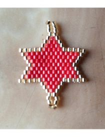 Red Rice Beads Woven Hexagonal Star Accessories