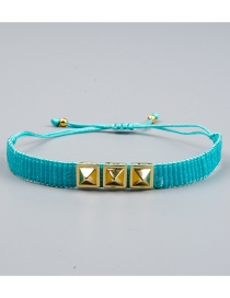 Blue Electroplated Rivet Beaded Woven Bracelet