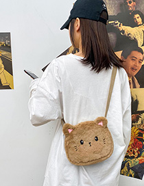 Brown Plush Cat Embroidery Contrast Color Crossbody Shoulder Bag
