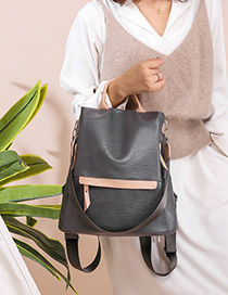 Fashion Gray Contrast Stitching Backpack