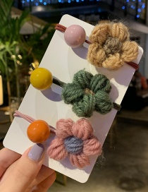 B Flower Candy Beans / 3 Sets Plush Geometric Hair Rope  Rubber Band