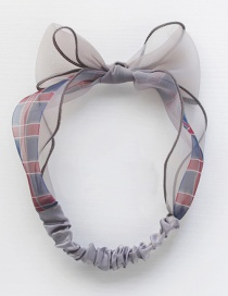 Bow Mesh Has A Circumference Of About 52cm Plaid Contrast Hair Band  Cloth