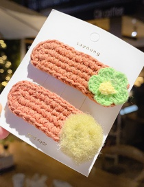 Orange/pair Knitted Woolen Hairpin  Alloy