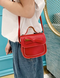 Fashion Red Wine Bow Embroidery Thread Children's Messenger Bag