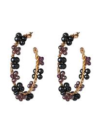 Fashion Black C-shaped Pearl Earrings