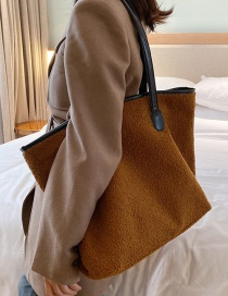 Fashion Brown Plush Shoulder Messenger Bag