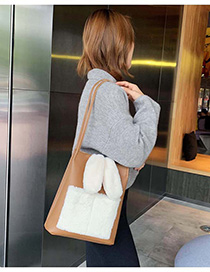 Fashion Brown Plush Contrast Shoulder Crossbody Bag