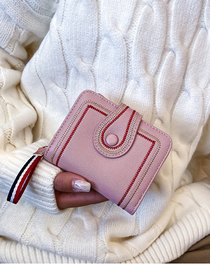 Fashion Pink Embroidery Line Short Section 2 Fold Wallet