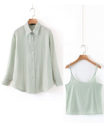 Fashion Green Two-piece Shirt (with Suspenders)