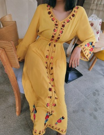 Fashion Yellow Embroidered V-neck Waist Lace Dress