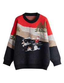 Fashion Red Santa Claus Embroidered Pullover