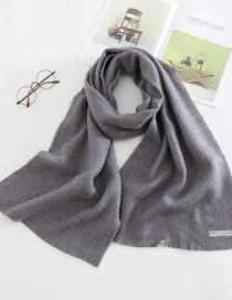 Fashion Dark Gray Letter Clip Flower Monochrome Imitation Cashmere Loose Scarf