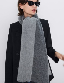 Fashion Gray Cashmere Shawl Bicolor Scarf