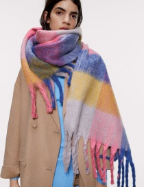 Fashion Color Plaid Imitation Cashmere Fringed Scarf Shawl